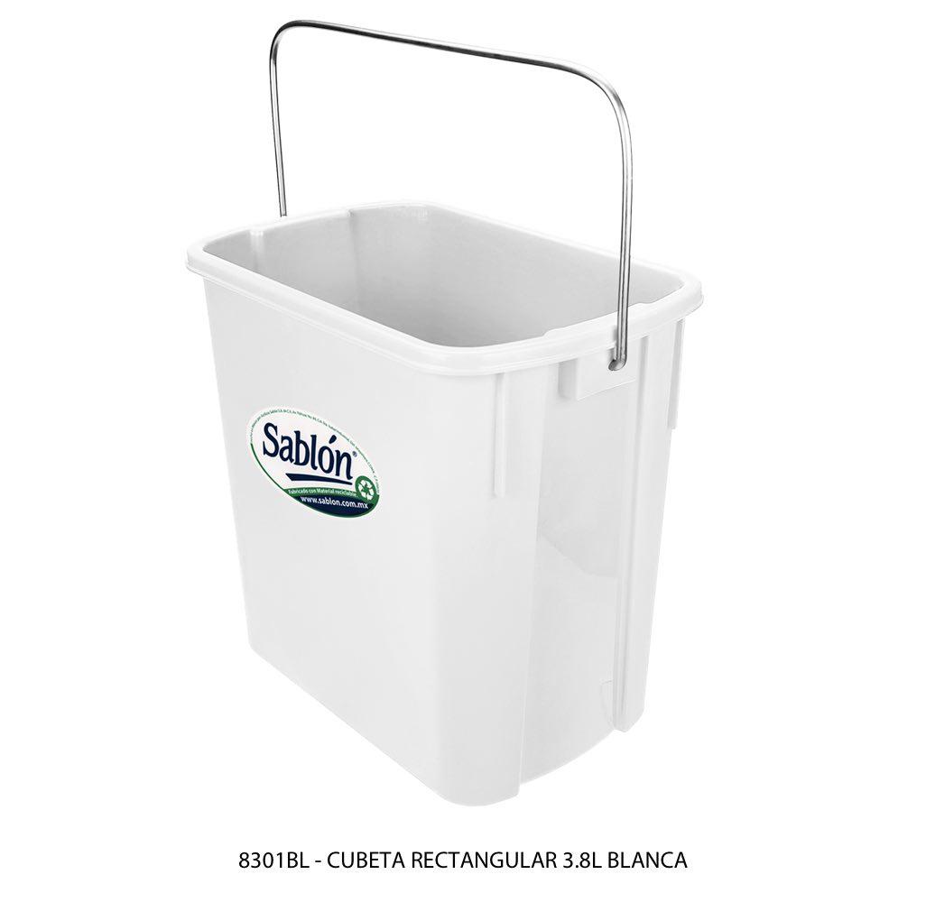 Cubeta rectangular de 3,8 litros color blanco modelo 8301BL Sablón