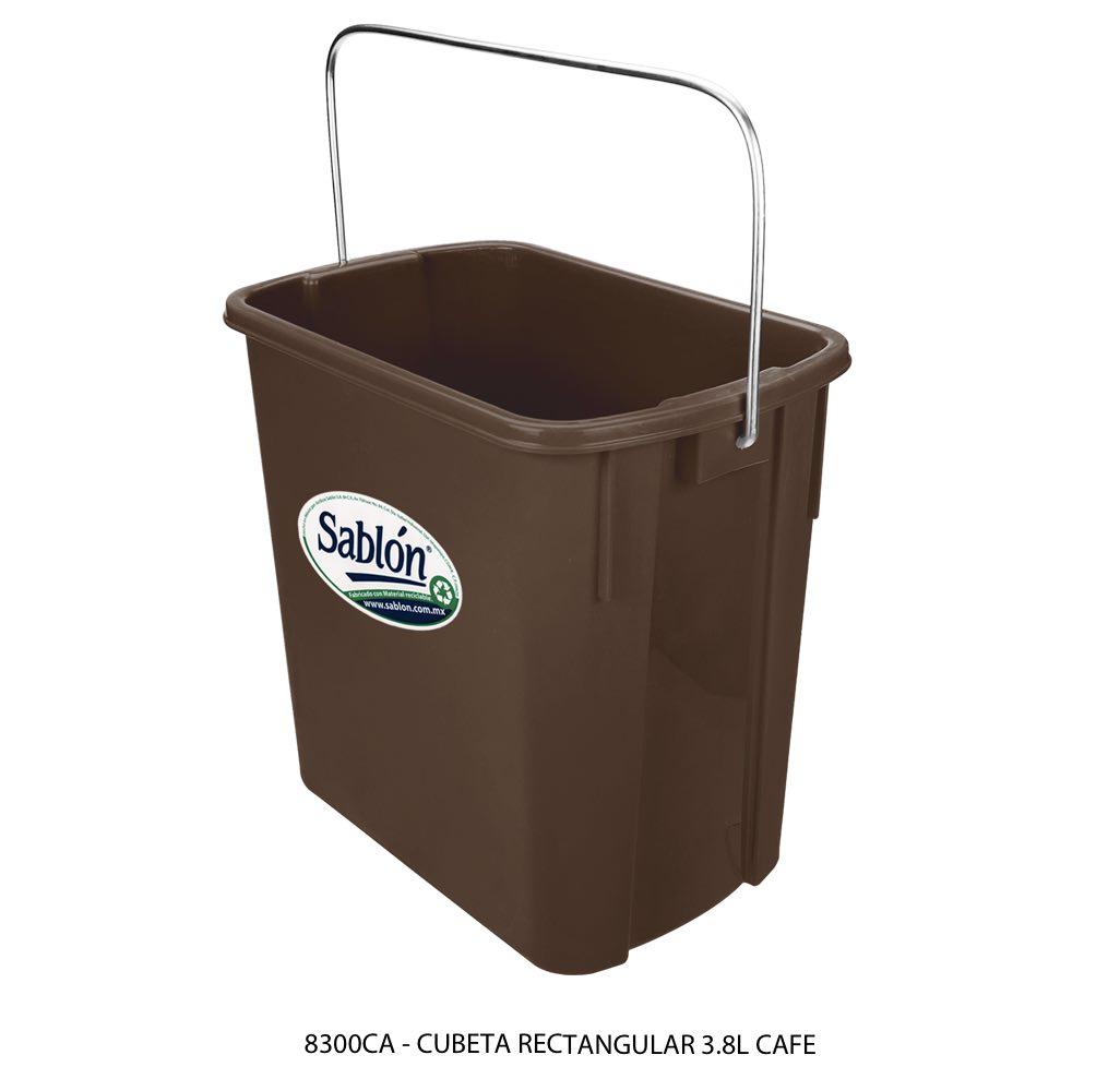 Cubeta rectangular de 3,8 litros color cafe modelo 8300CA Sablón