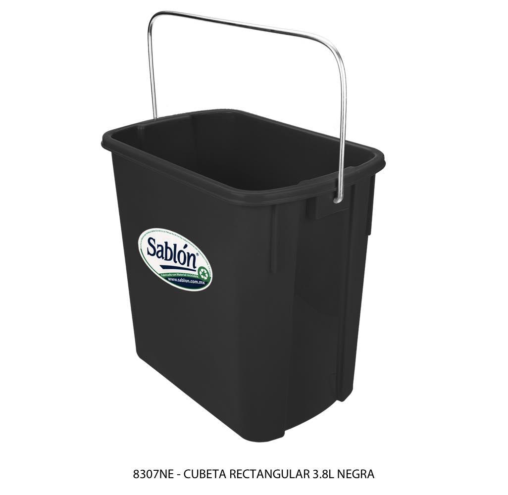 Cubeta rectangular de 3,8 litros color negro modelo 8307NE Sablón