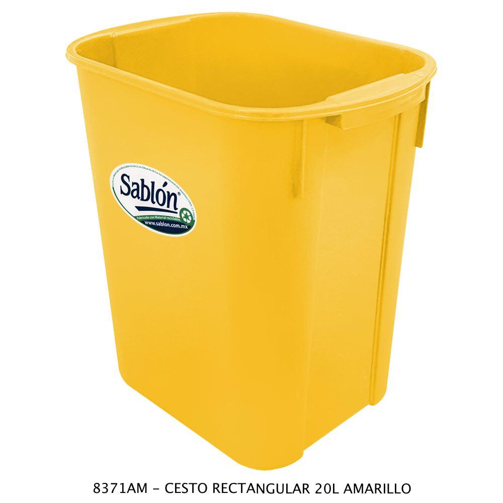 Bote de basura rectangular de 20 litros color amarillo modelo 8371AM Sablón