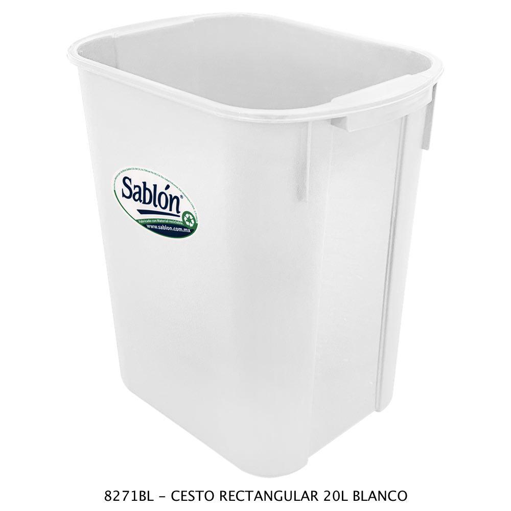 Bote de basura rectangular de 20 litros color café modelo 8423CA Sablón