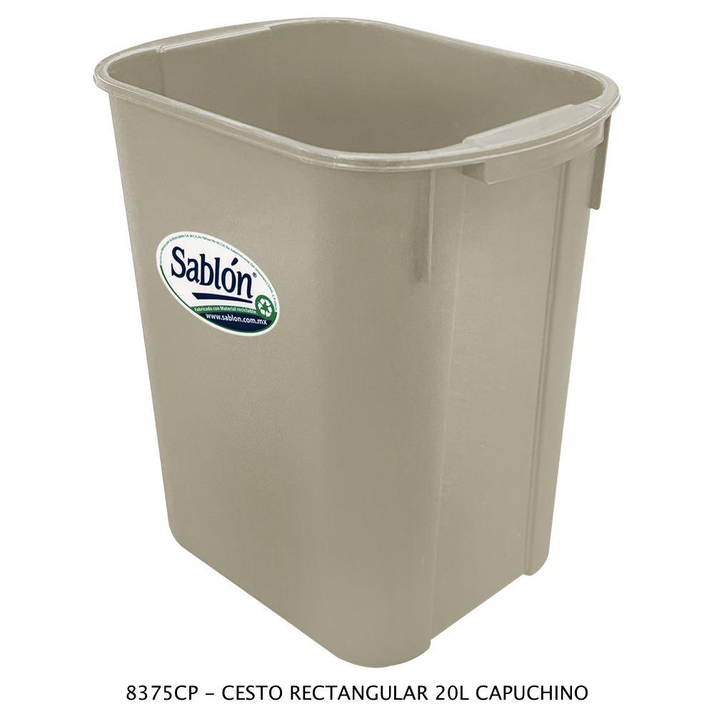 Bote de basura rectangular de 20 litros color capuchino modelo 8375CP Sablón