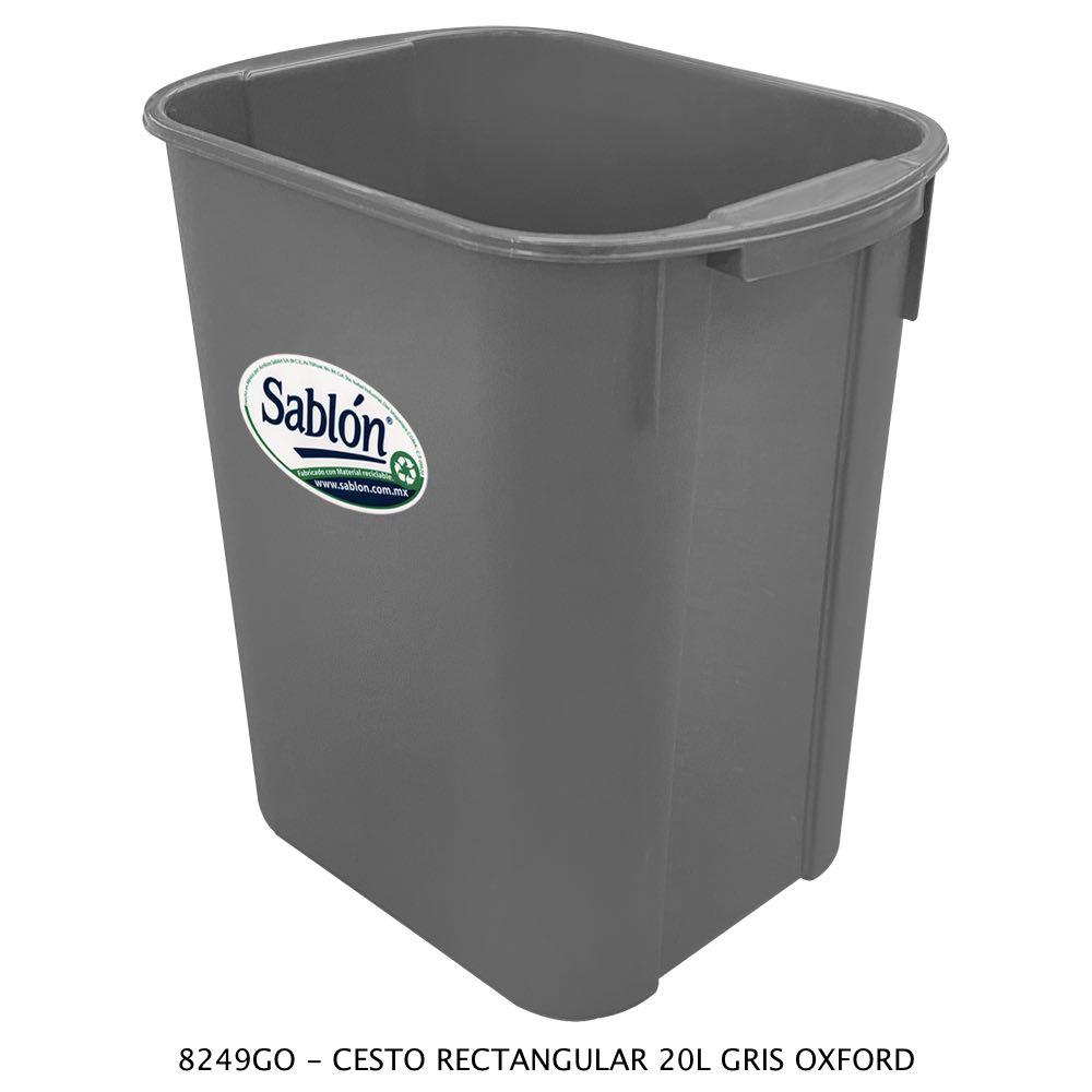 Bote de basura rectangular de 20 litros color gris oxford modelo 8249GO Sablón