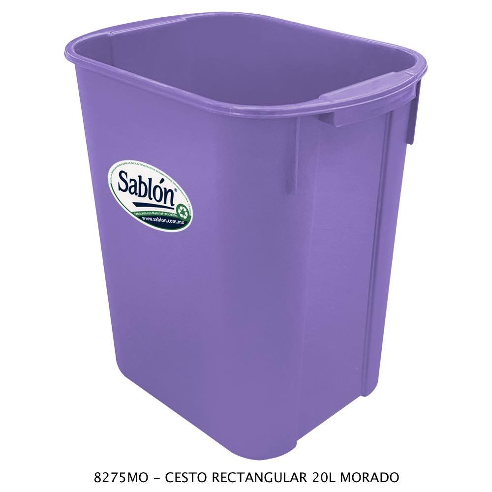 Bote de basura rectangular de 20 litros color morado modelo 8275MO Sablón