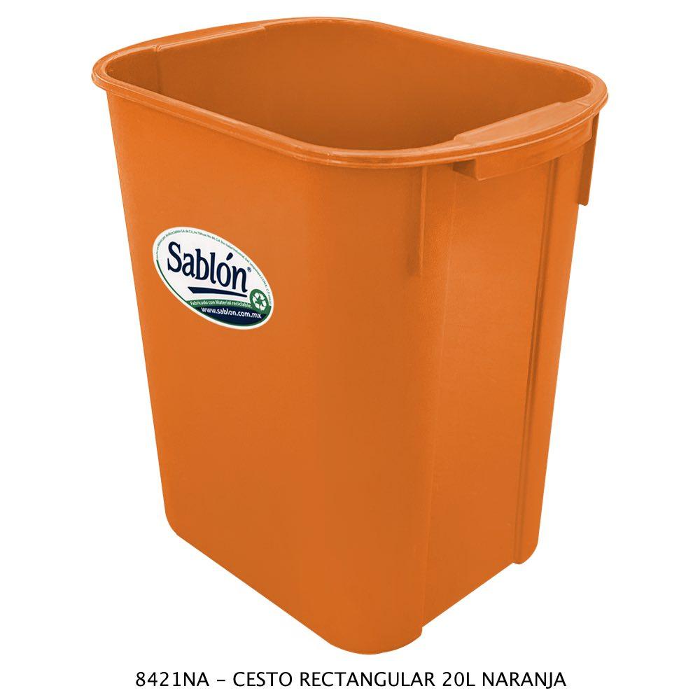 Bote de basura rectangular de 20 litros color naranja modelo 8421NA Sablón