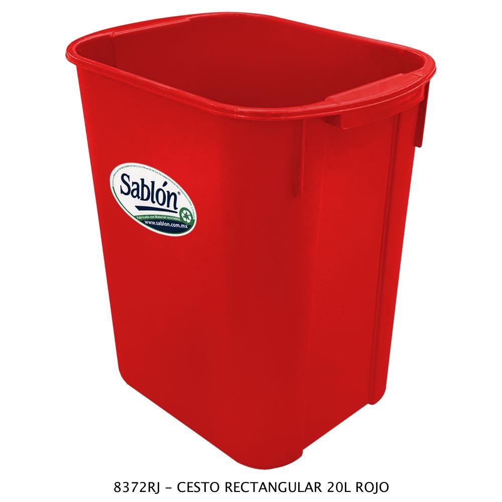 Bote de basura rectangular de 20 litros color rojo modelo 8372RJ Sablón