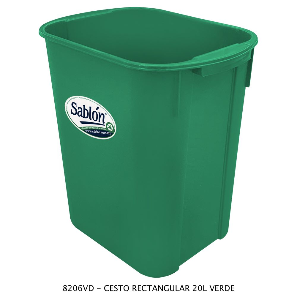 Bote de basura rectangular de 20 litros color verde modelo 8206VD Sablón