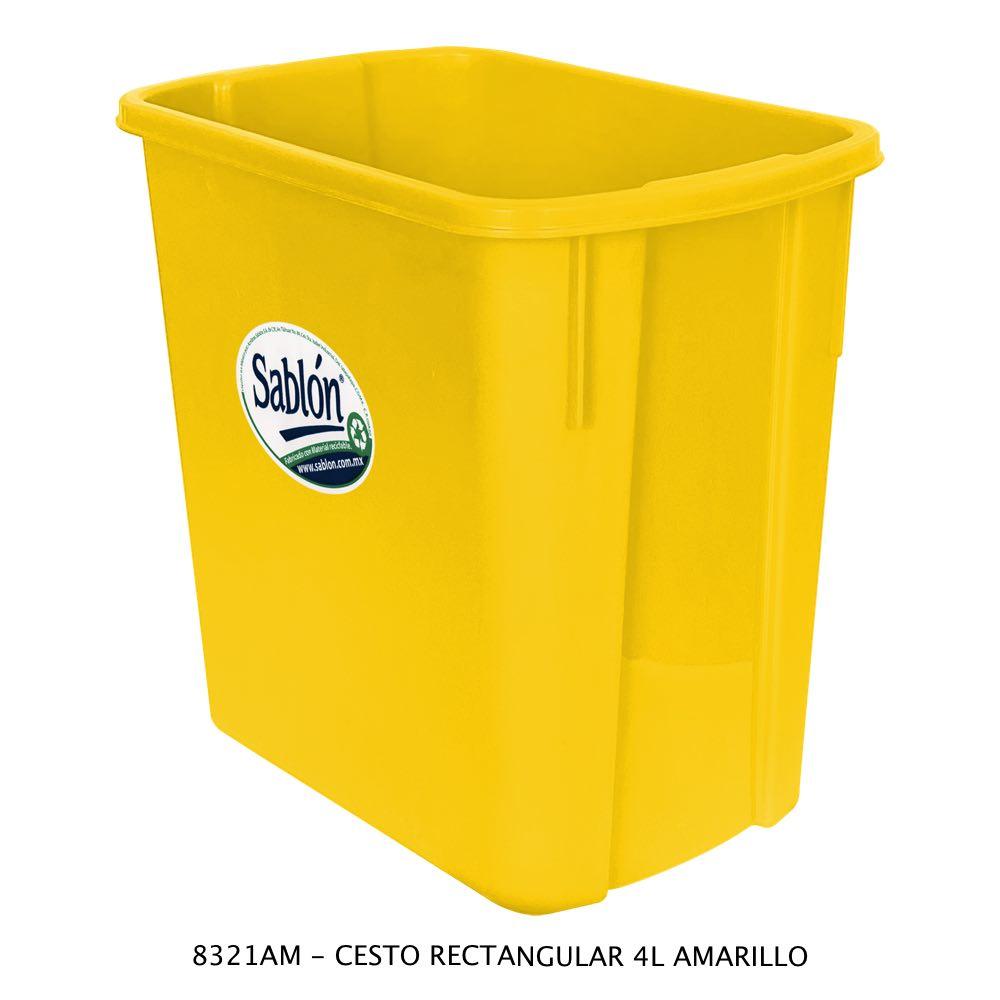 Bote de basura rectangular de 4 litros color amarillo Modelo 8321AM Sablón