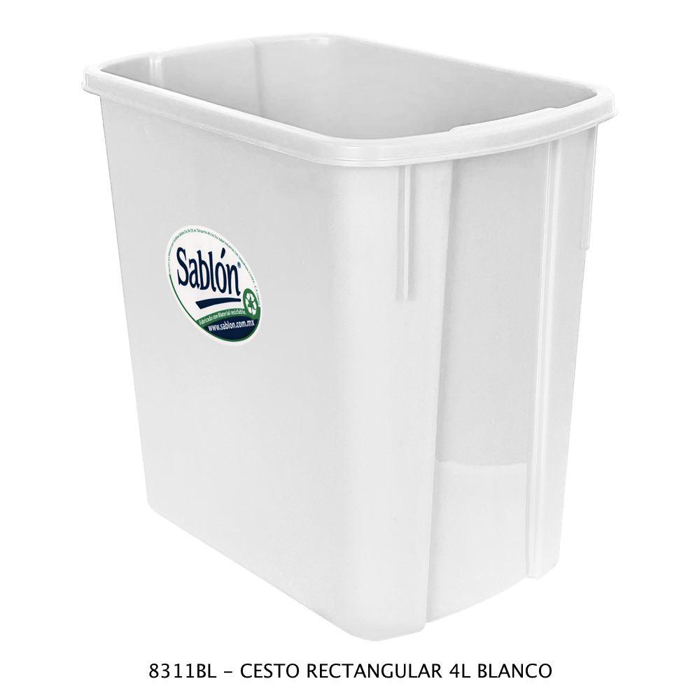 Bote de basura rectangular de 4 litros color blanco Modelo 8311BL Sablón