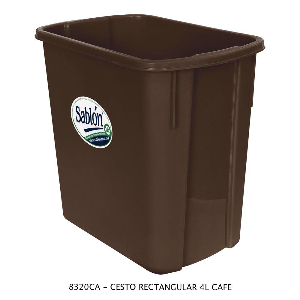 Bote de basura rectangular de 4 litros color café Modelo 8320CA Sablón