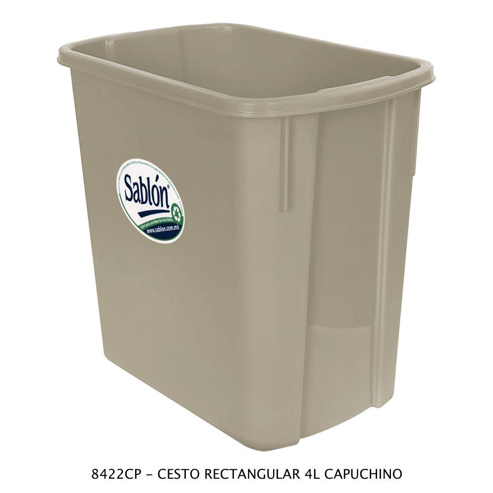 Bote de basura rectangular de 4 litros color capuchino Modelo 8422CP Sablón