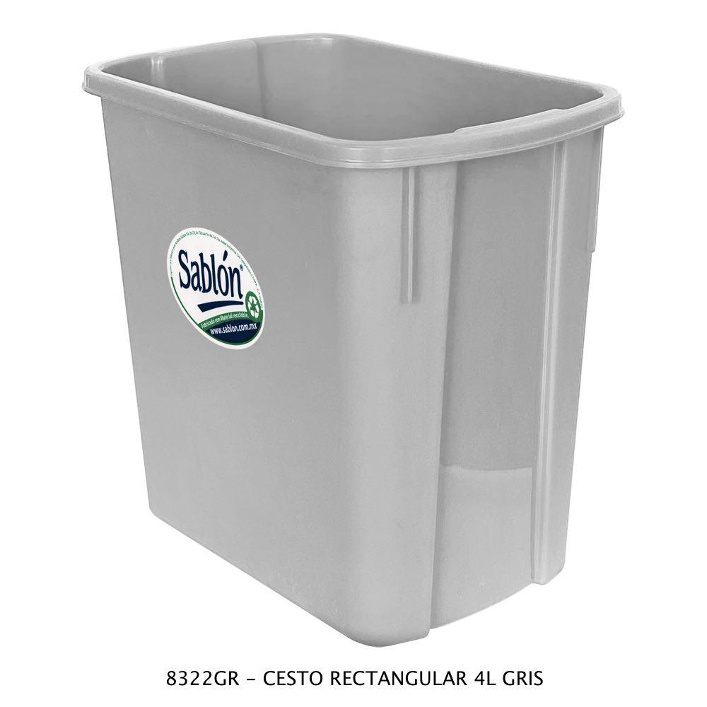Bote de basura rectangular de 4 litros color gris Modelo 8322GR Sablón