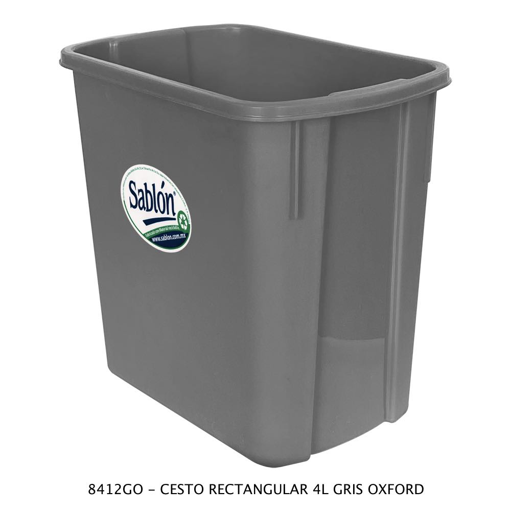 Bote de basura rectangular de 4 litros color gris oxford Modelo 8412GO Sablón