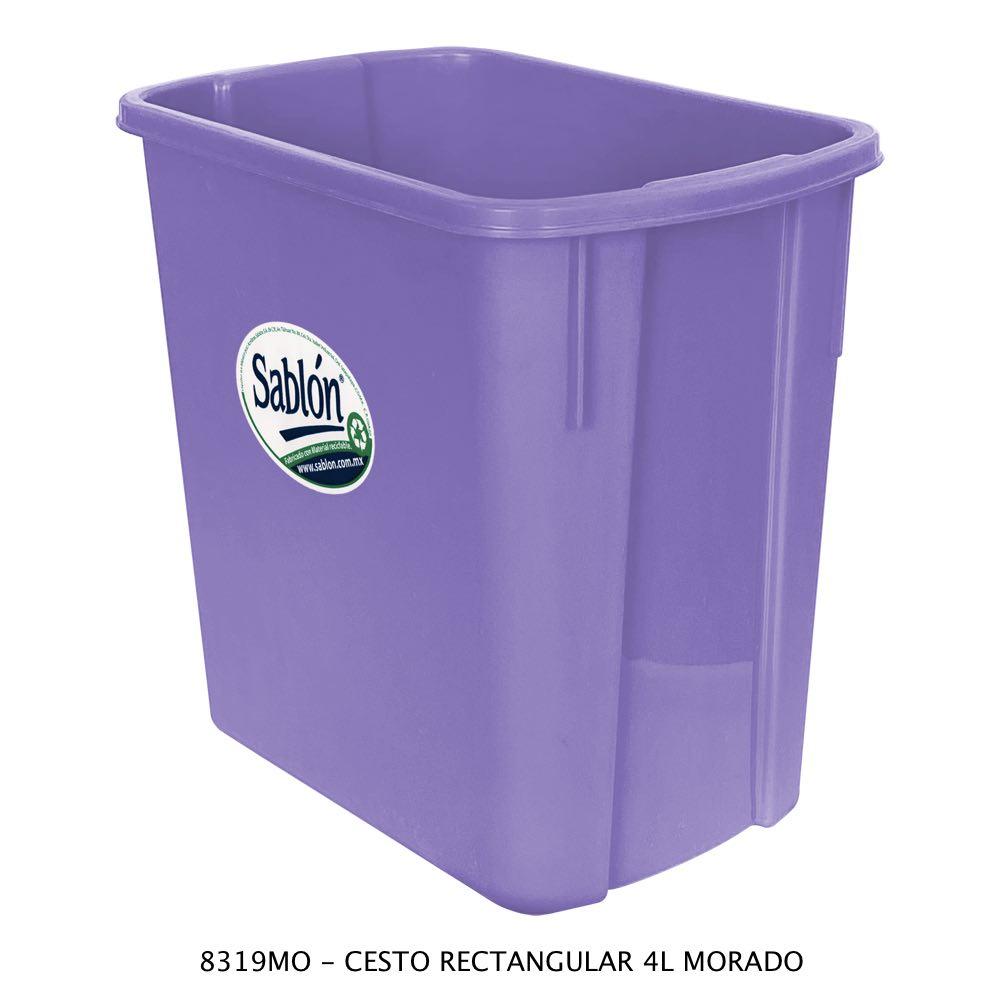 Bote de basura rectangular de 4 litros color morado Modelo 8319MO Sablón
