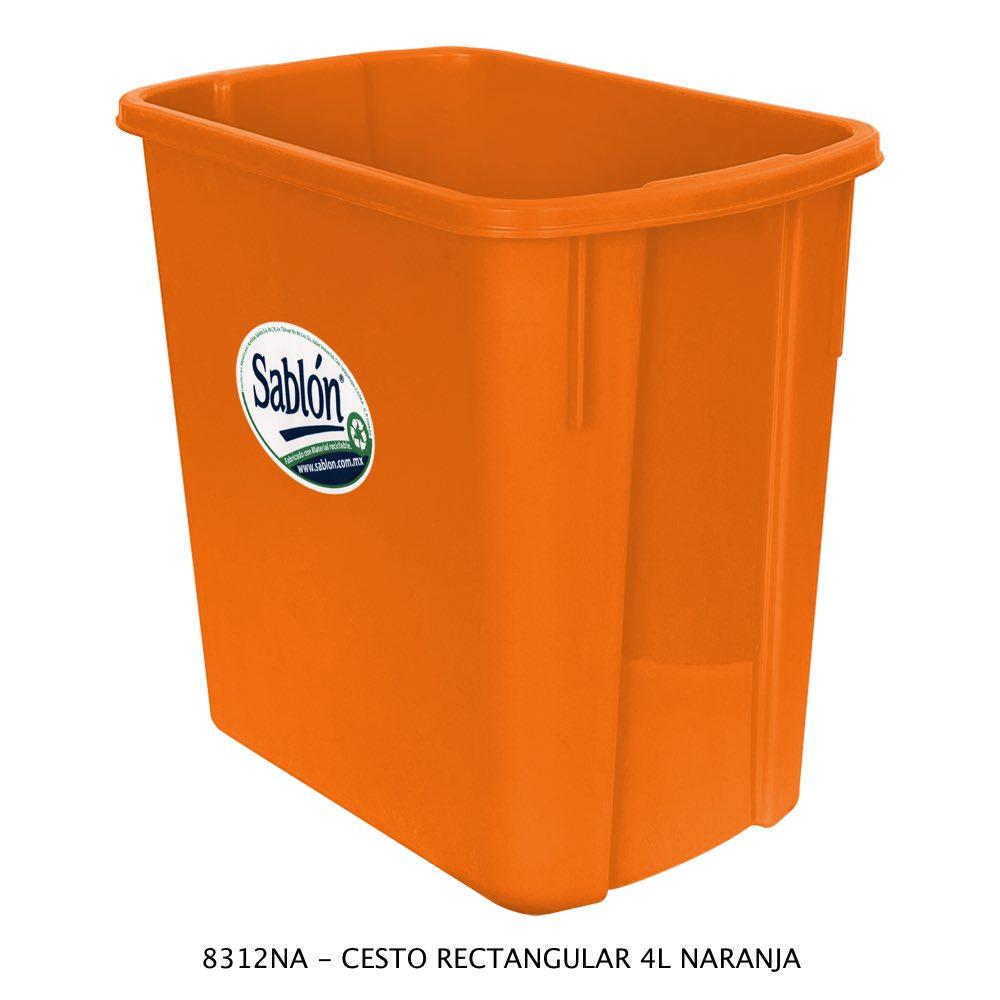Bote de basura rectangular de 4 litros color naranja Modelo 8312NA Sablón