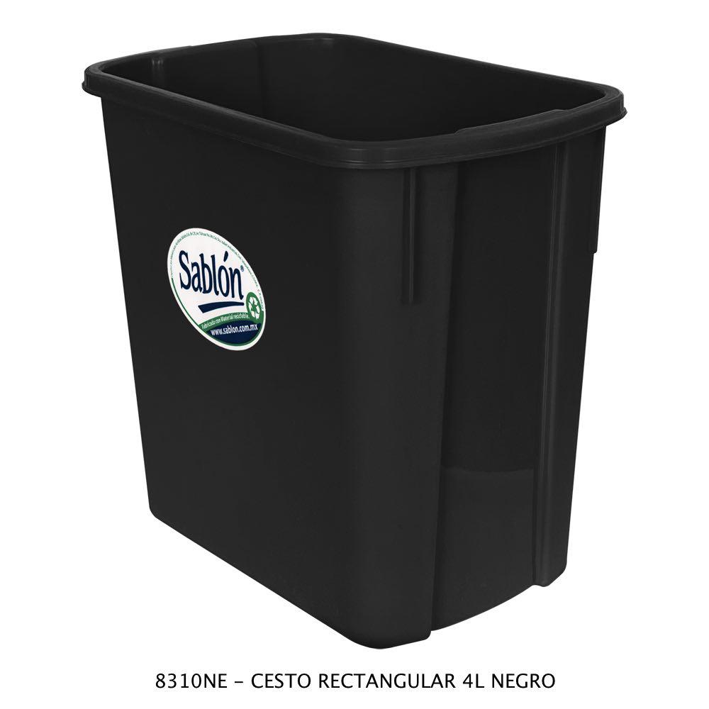 Bote de basura rectangular de 4 litros color negro Modelo 8310NE Sablón