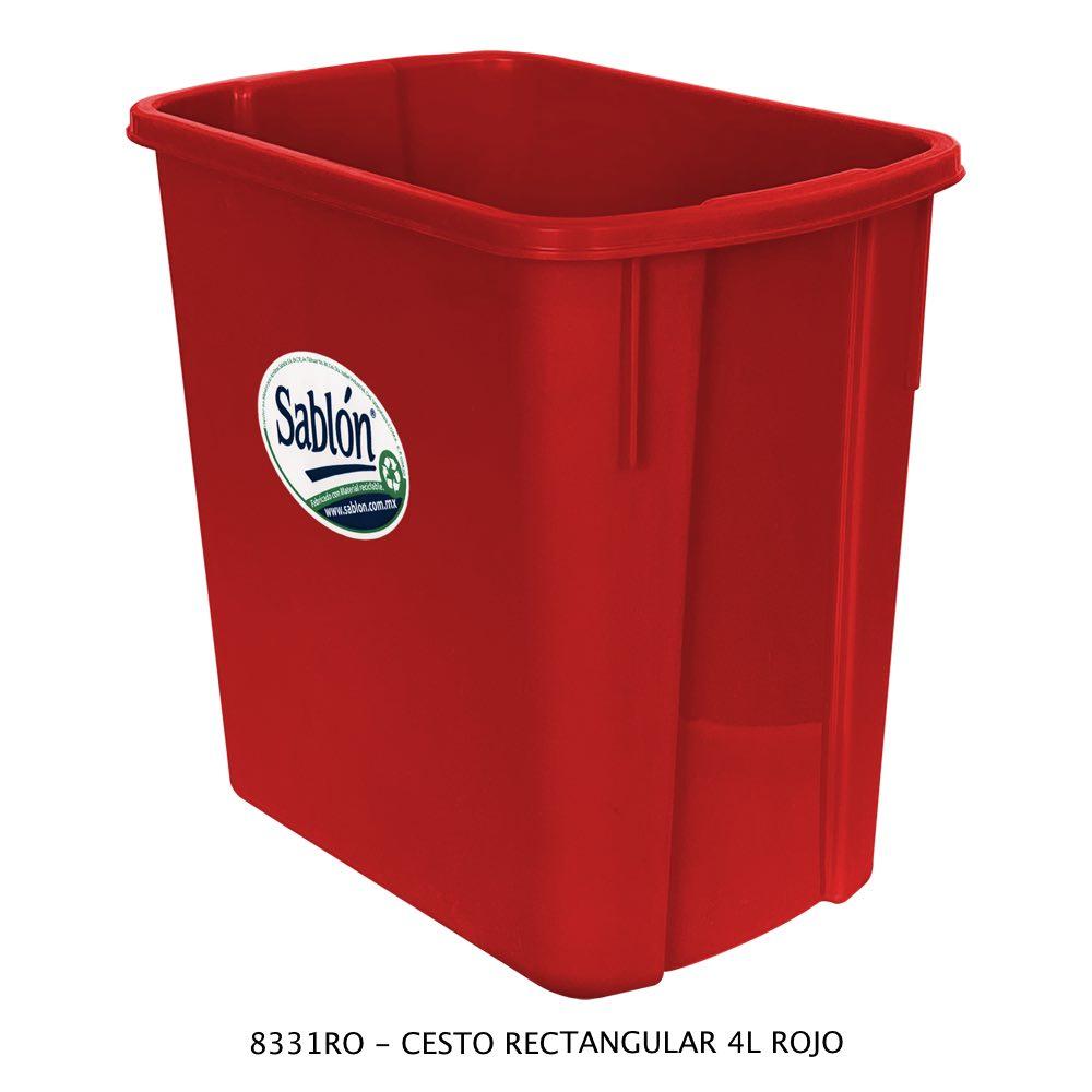 Bote de basura rectangular de 4 litros color rojo Modelo 8331RO Sablón