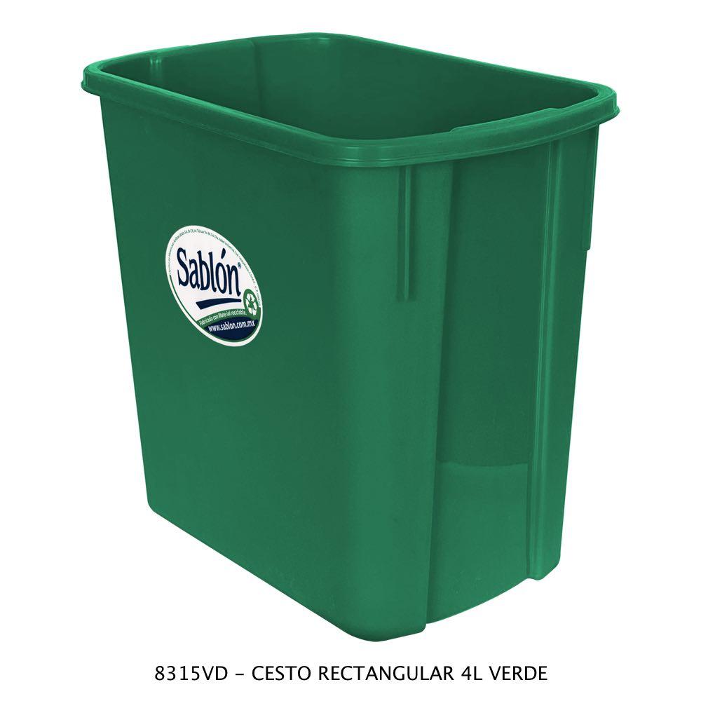 Bote de basura rectangular de 4 litros color verde Modelo 8315VD Sablón