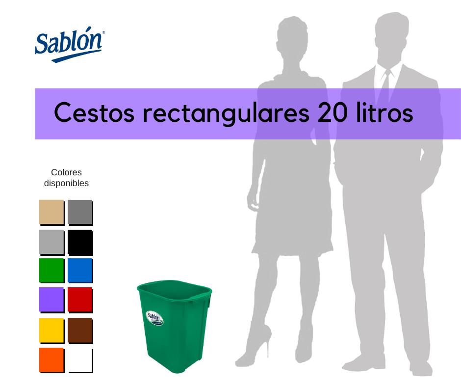 Botes de basura rectangulares de 20 litros Sablón