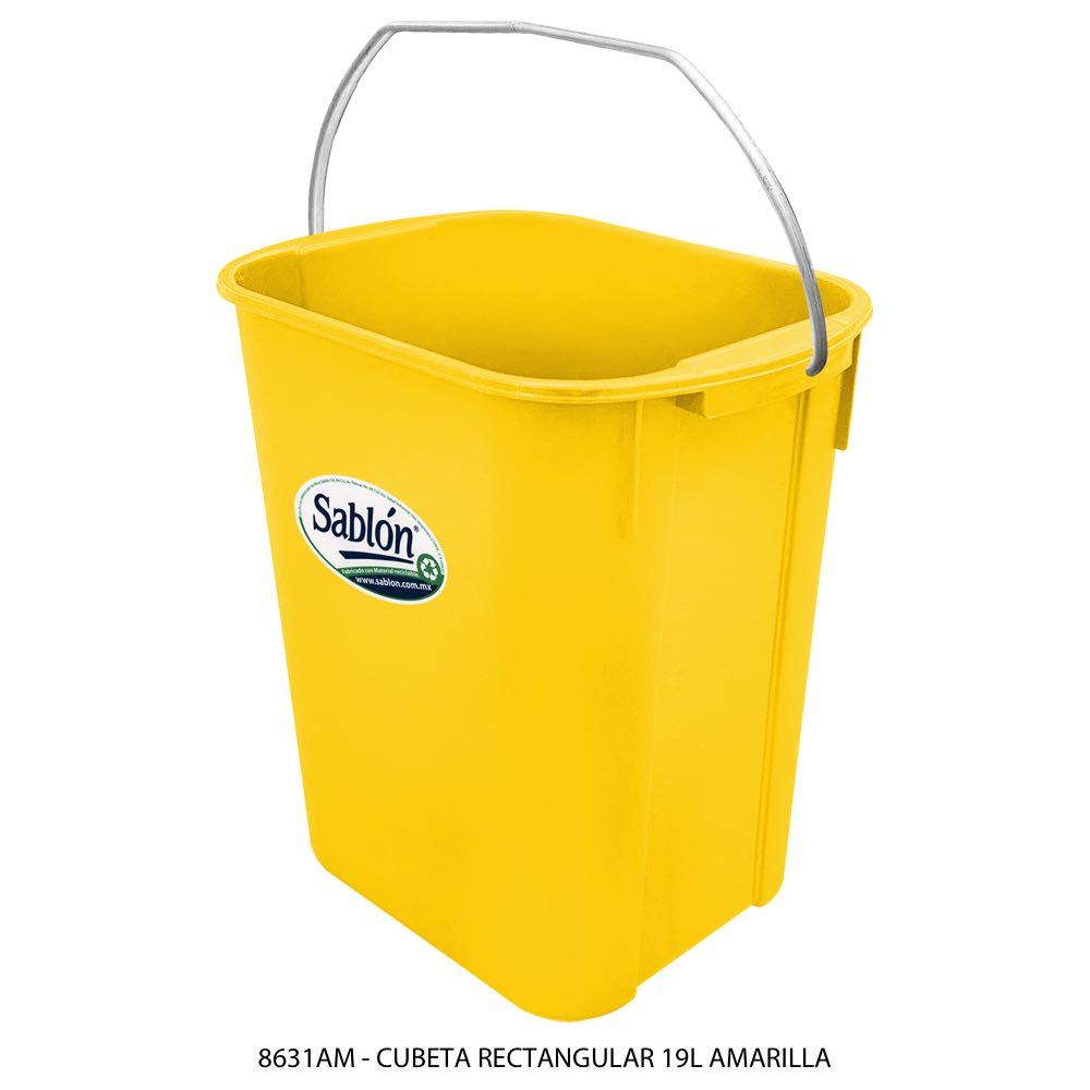 Cubeta rectangular de 19 litros color amarillo Modelo 8631AM Sablón