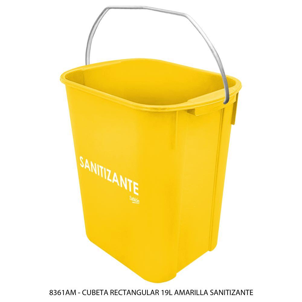 Cubeta rectangular de 19 litros color amarillo sanitizante Modelo 8361AM Sablón