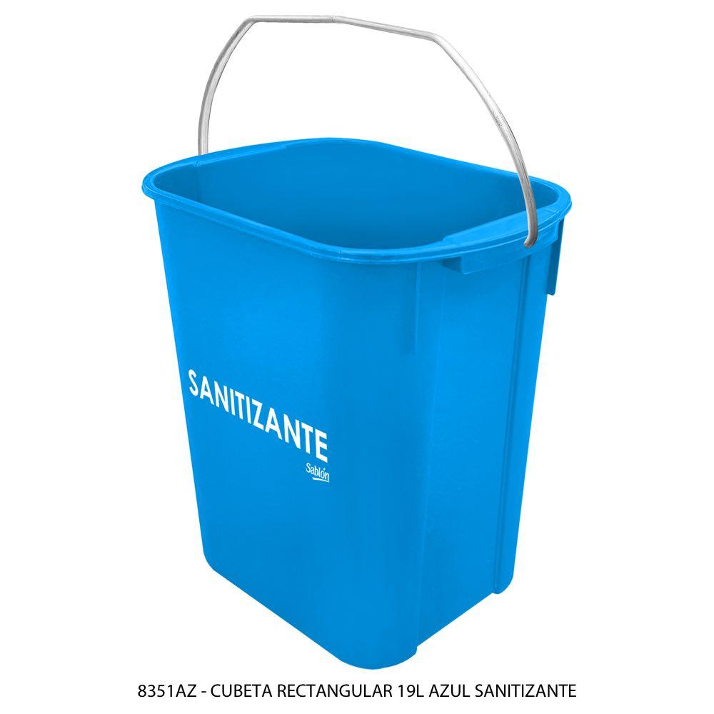 Cubeta rectangular de 19 litros color azul sanitizante Modelo 8351AZ Sablón