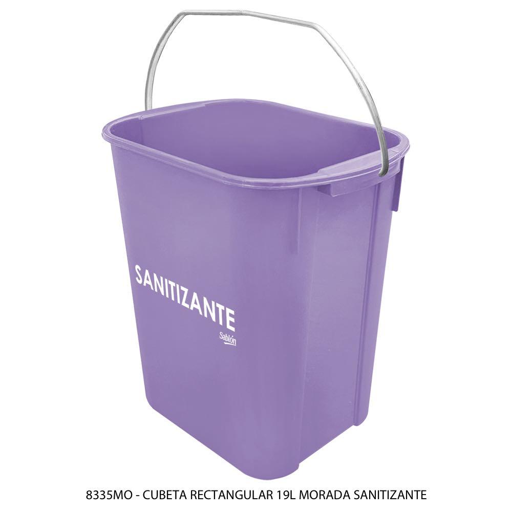 Cubeta rectangular de 19 litros color morado sanitizante Modelo 8335MO Sablón