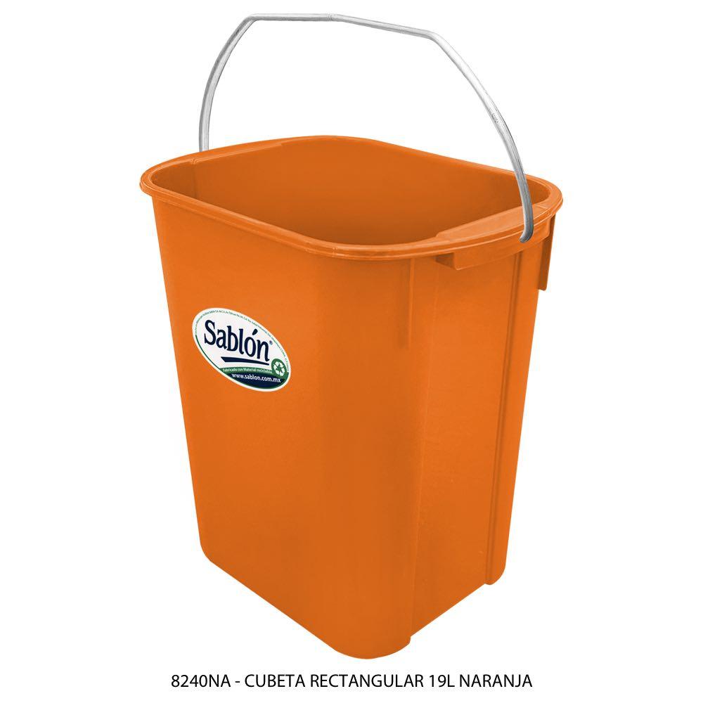 Cubeta rectangular de 19 litros color naranja Modelo 8240NA Sablón