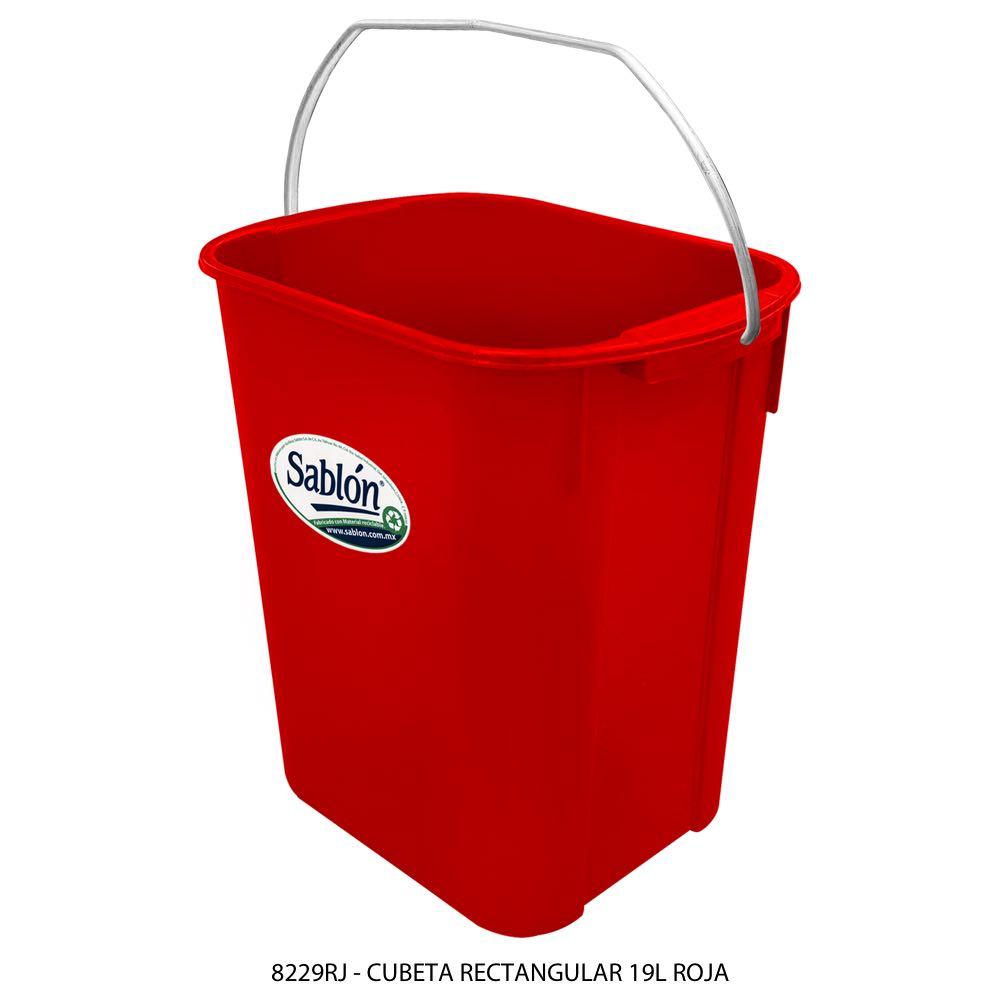 Cubeta rectangular de 19 litros color rojo Modelo 8229RJ Sablón