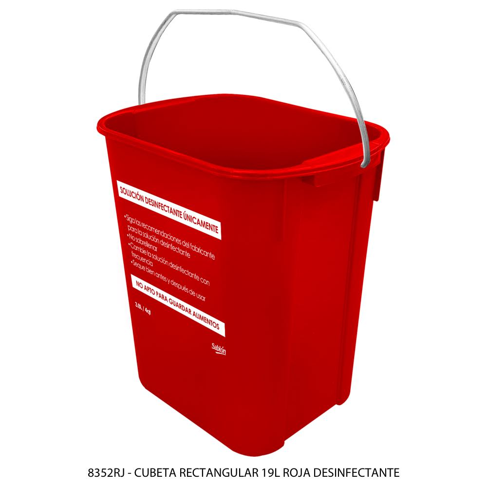 Cubeta rectangular de 19 litros color rojo solución desinfectante Modelo 8352RJ Sablón