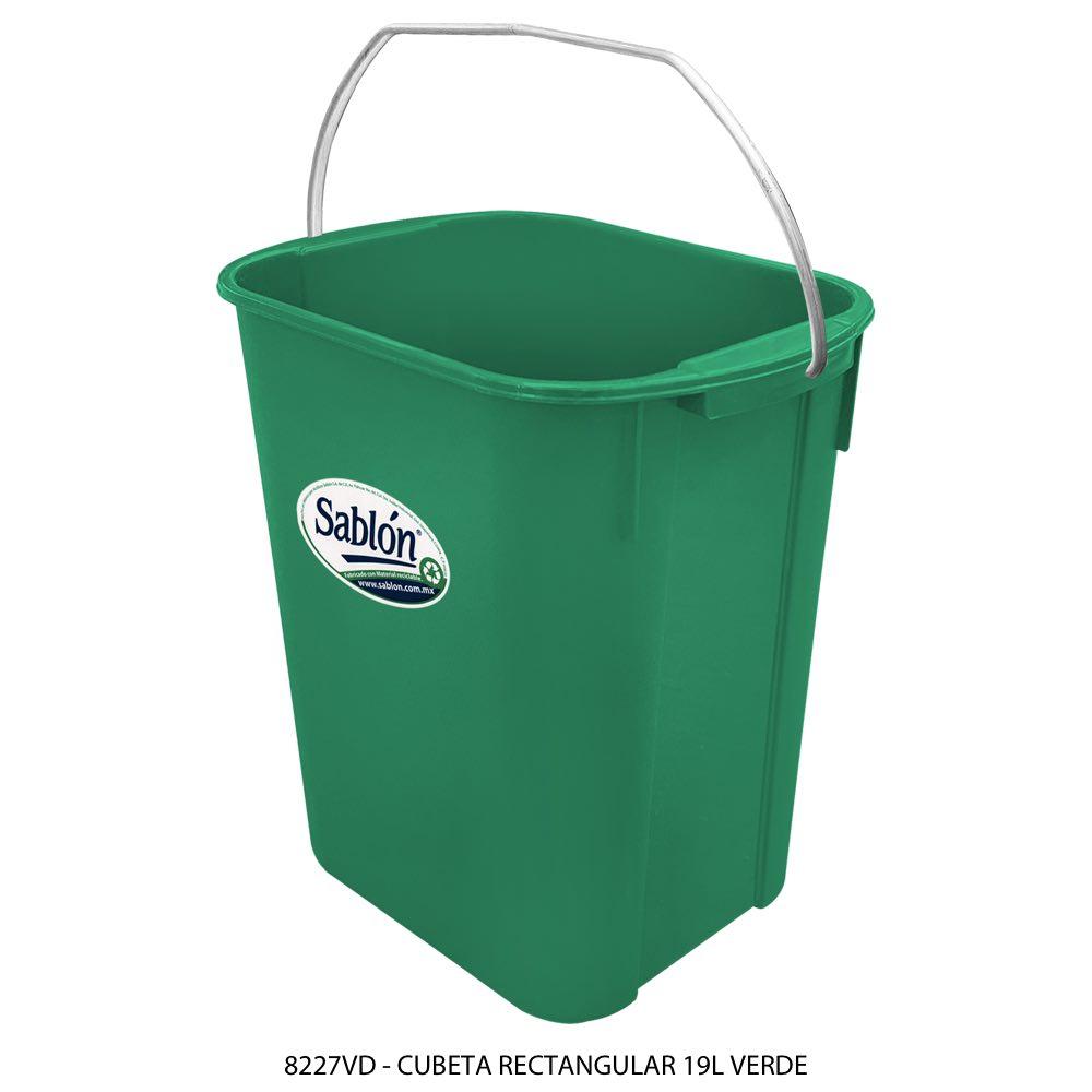 Cubeta rectangular de 19 litros color verde Modelo 8227VD Sabl{on