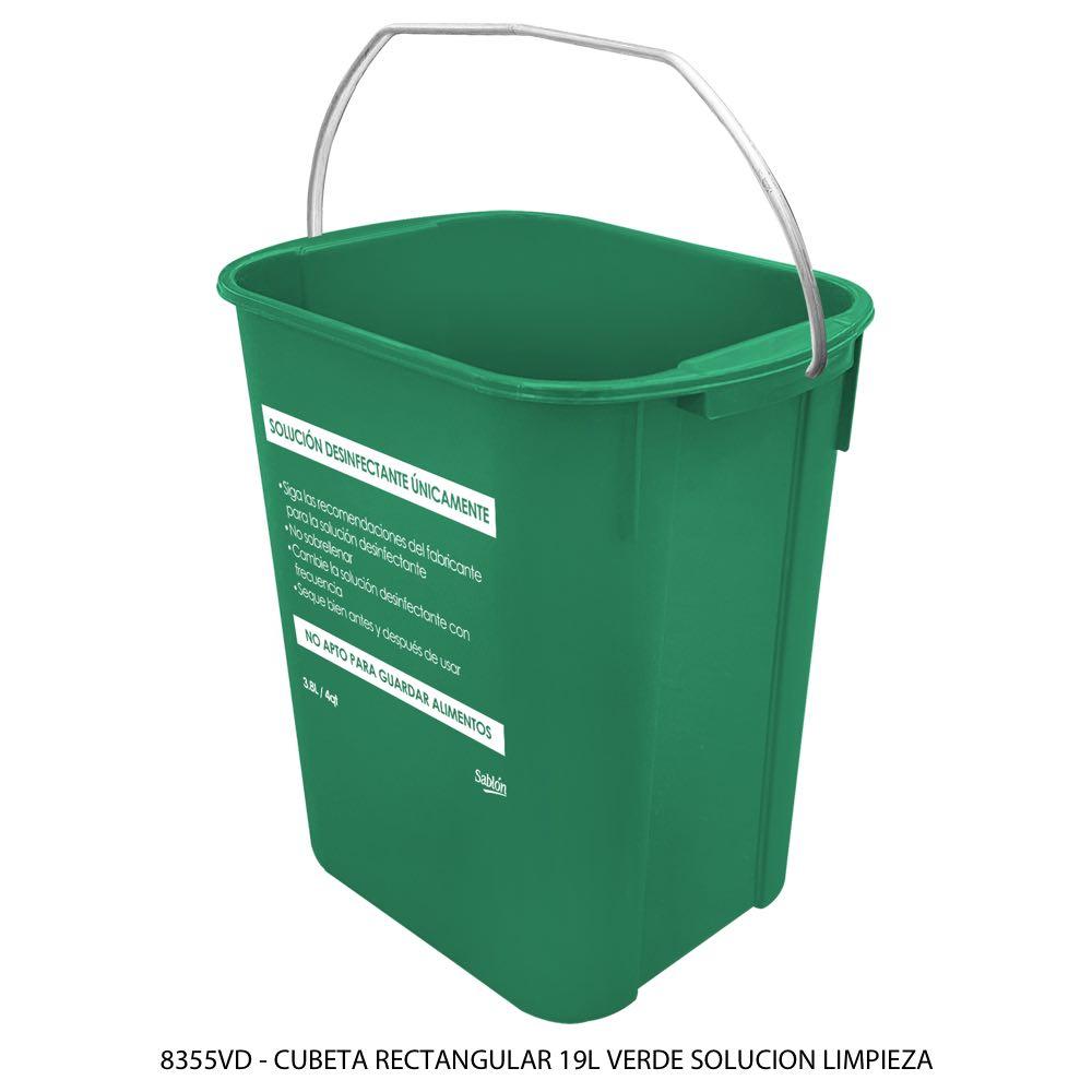 Cubeta rectangular de 19 litros color verde solución desinfectante Modelo 8355VD Sablón