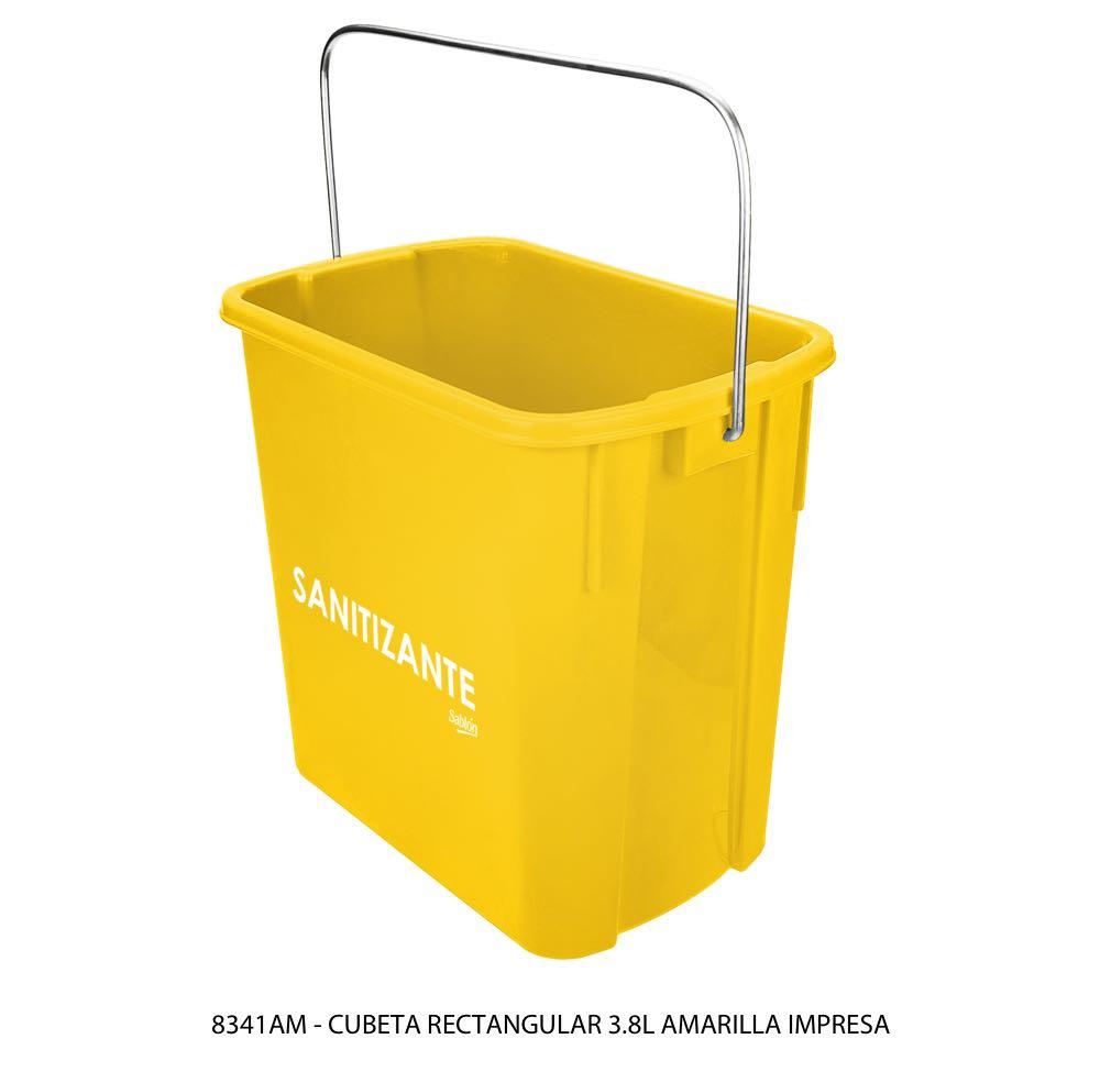 Cubeta rectangular de 3,8 litros color amarillo con impreso lateral modelo 8341AM Sablón