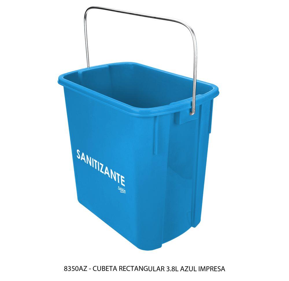 Cubeta rectangular de 3,8 litros color azul con impreso lateral modelo 8350AZ Sablón