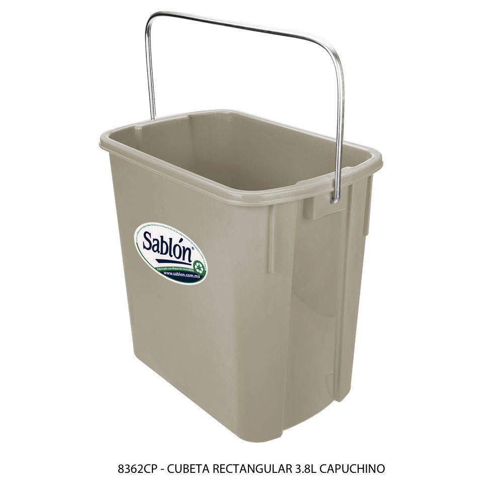 Cubeta rectangular de 3,8 litros color capuchino modelo 8362CP Sablón
