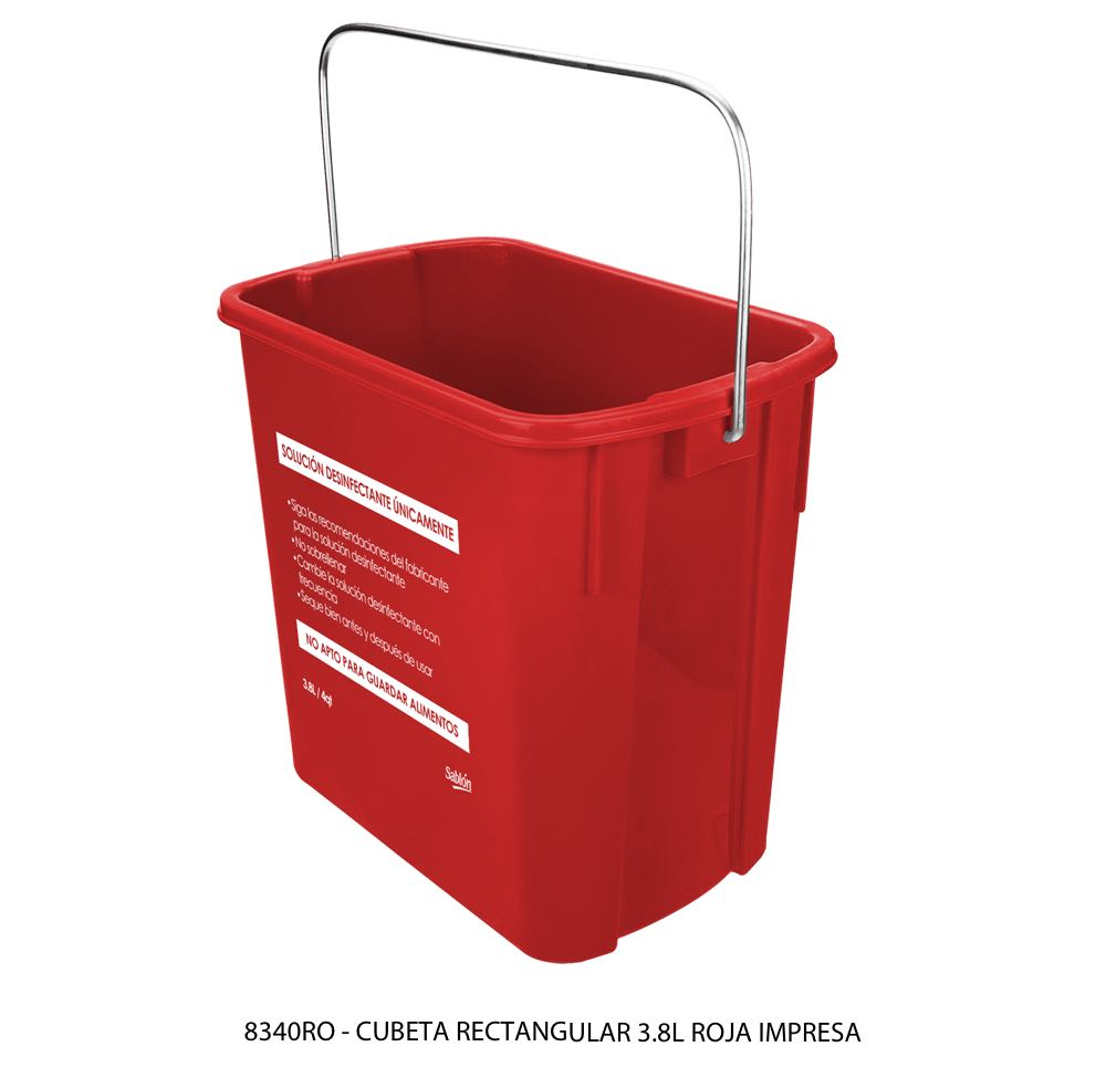 Cubeta rectangular de 3,8 litros color rojo con impreso lateral modelo 8340RO Sablón