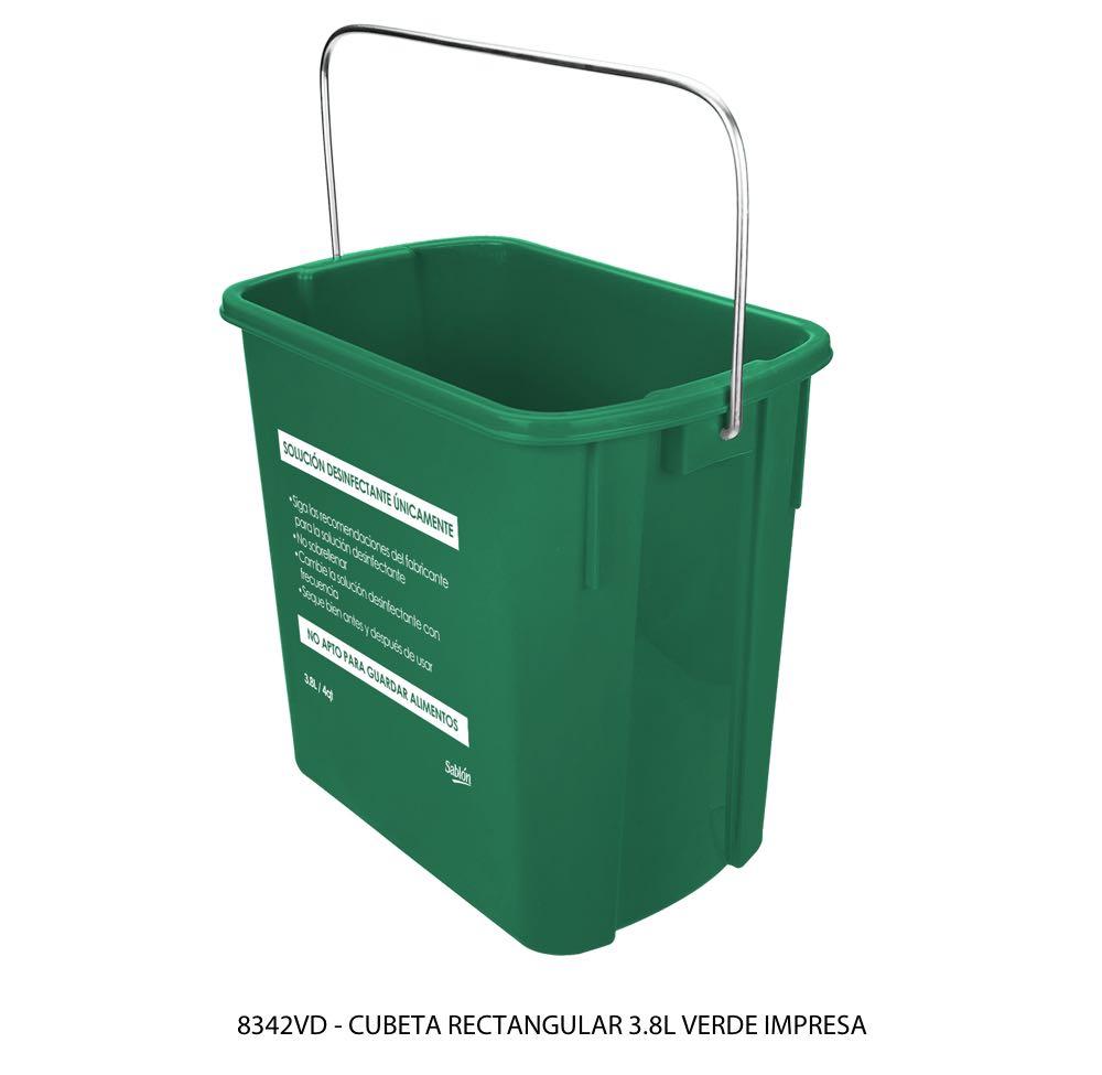 Cubeta rectangular de 3,8 litros color verde con impreso lateral modelo 8342 VD Sablón