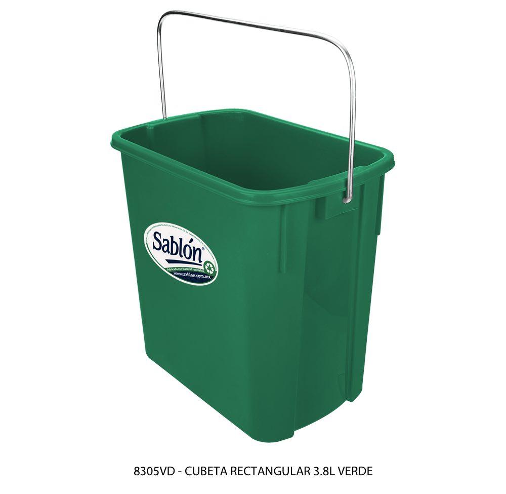 Cubeta rectangular de 3,8 litros color verde modelo 8305VD Sablón