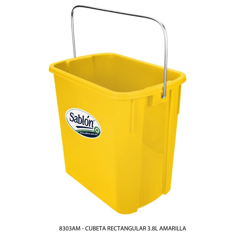 Cubeta rectangular de 3,8 litros en color amarillo modelo 8303AM Sablón