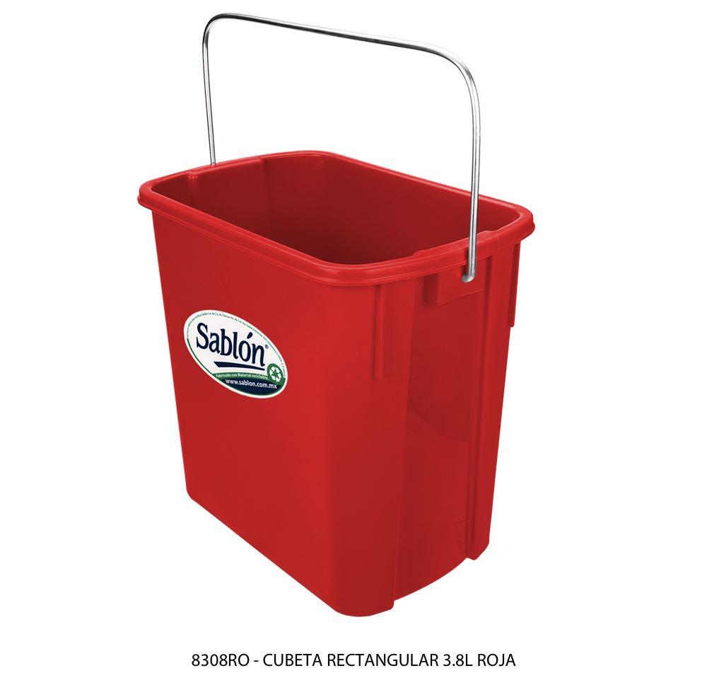 Cubeta rectangular de 3,8 litros en color rojo modelo 8308RO Sablón