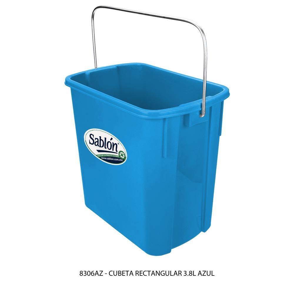 Cubeta rectangular de3,8 litros color azul modelo 8306AZ Sablón