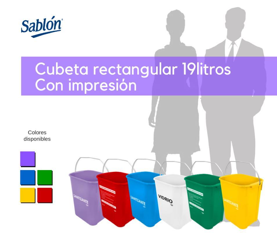 Cubetas rectangulares de 19 litros impresa de Sablón