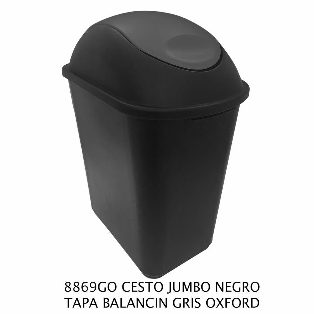 Bote de basura Jumbo color negro con tapa balancín gris oxford Modelo 8869GO Sablón