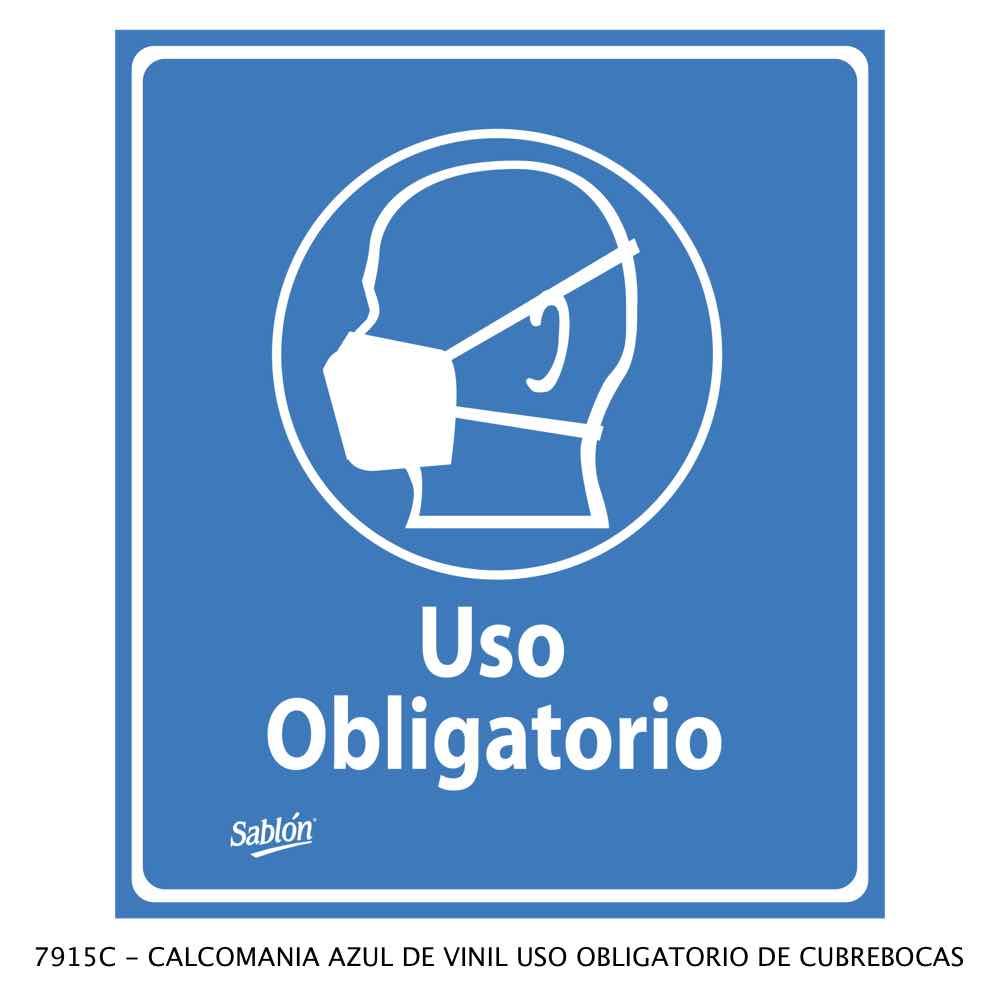 Calcomanía azul de vinil Uso Obligatorio de Cubrebocas Modelo 7915C Sablón